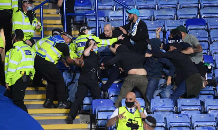 Police and stewards stepped in to separate Leicester and Napoli fans after clashes in the stands.