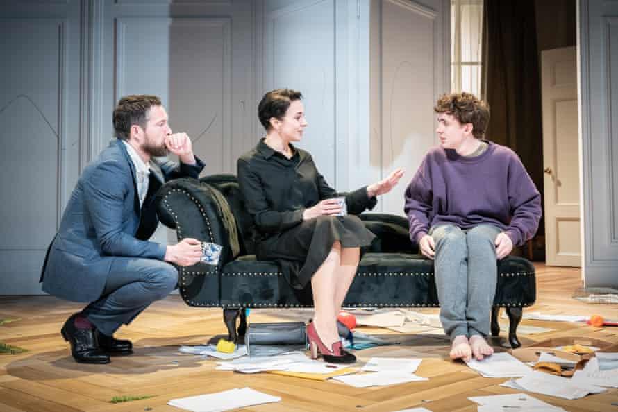 Divided loyalty … John Light as Pierre, Amanda Abbington as ex-wife Anne and Laurie Kynaston as their son Nicolas.