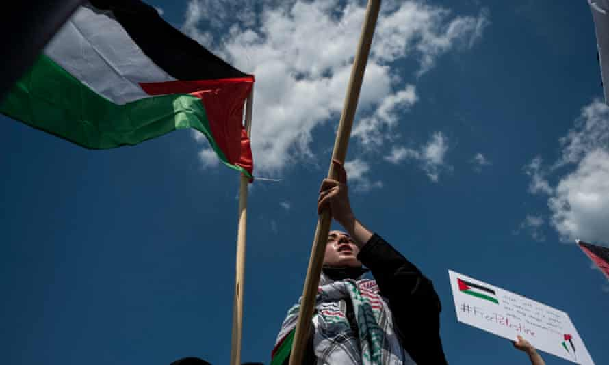 Activists and protesters march in support of Palestine near the Washington monument in Washington DC on 15 May 2021.