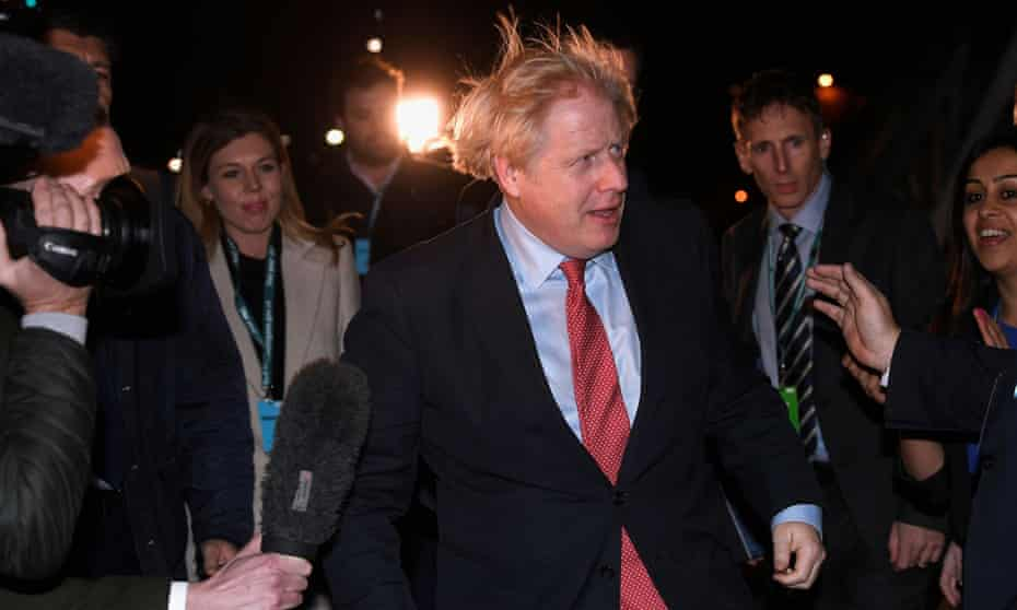 Boris Johnson, arriving at the count for his seat of Uxbridge, has delivered a crushing victory for his party, though has a long road before he can deliver Brexit for the nation.