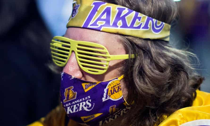 An LA Lakers fan celebrates the team's championship last season