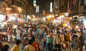 A market street in Paharganj, Delhi.
