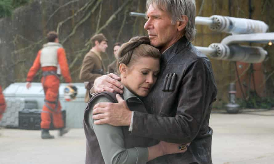 Carrie Fisher with Harrison Ford in Star Wars: The Force Awakens