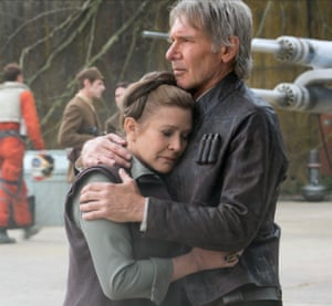 Actors Carrie Fisher and Harrison Ford in 2015's Star Wars: The Force Awakens