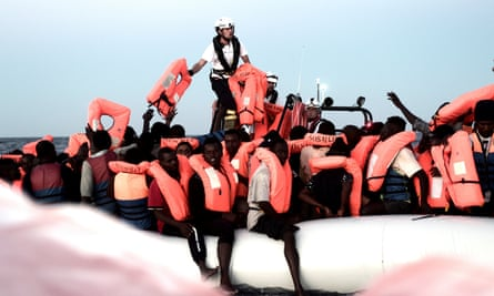 Migrants are rescued in the Mediterranean Sea. Italy's interior minister Matteo Salvini has said Italian ports are closed to NGOs involved in migrant rescue.