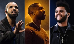Drake, Trevante Rhodes in Moonlight and The Weeknd.