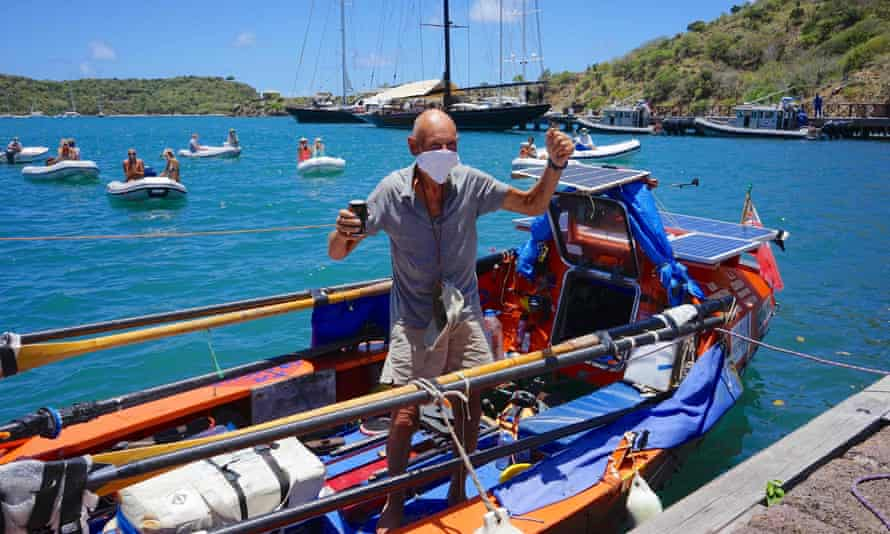 Graham Walters arrives into Antigua after rowing the Atlantic