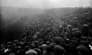 Huge crowds turn out to see Sheffield United v Chelsea in the FA Cup final at Old Trafford in April 1915.