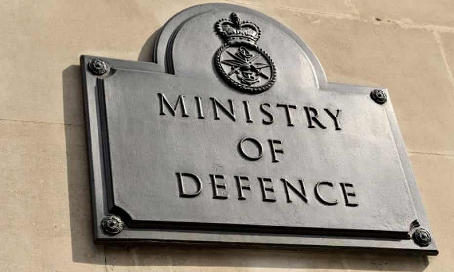 Sign for the Ministry of Defence in London.