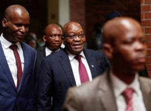 Pietermaritzburg, South Africa The former South African president Jacob Zuma arrives at the high court, where he faces charges that include fraud, corruption and racketeering