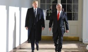 Trump meets the Israeli prime minister, Benjamin Netanyahu, at the White House on Monday.
