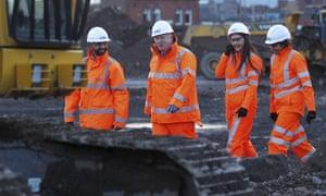 Boris Johnson at a HS2 construction site in Birmingham.