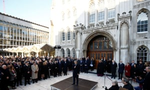 The mayor of London, Sadiq Khan, speaks during the vigil at Guildhall Yard