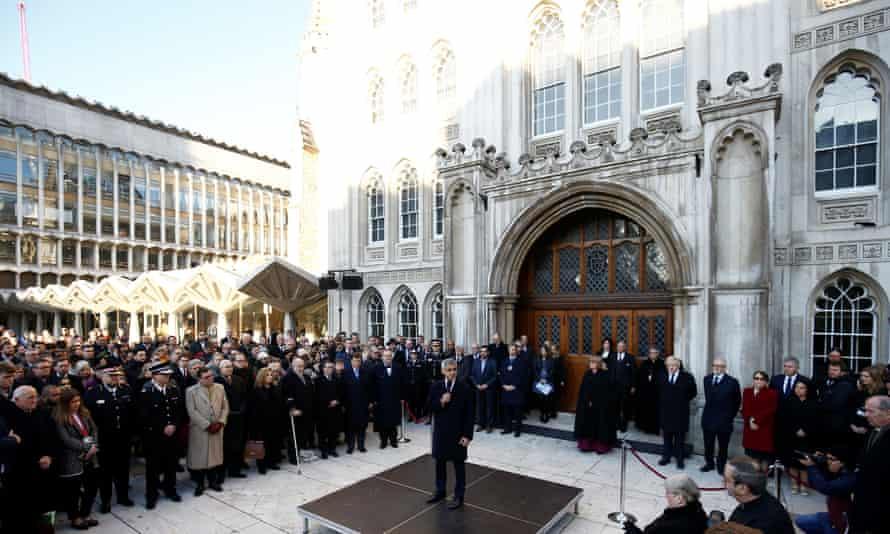 The mayor of London, Sadiq Khan, speaks during the vigil at Guildhall Yard