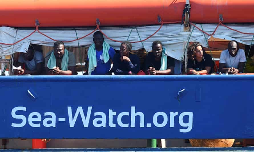 People rescued by Sea-Watch. The NGO declined to have them disembark at Tripoli, citing Libya as unsafe.