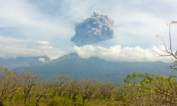 Mount Barujari's eruption seen from North Lombok on Wednesday. Photograph: Antara Foto/Reuters