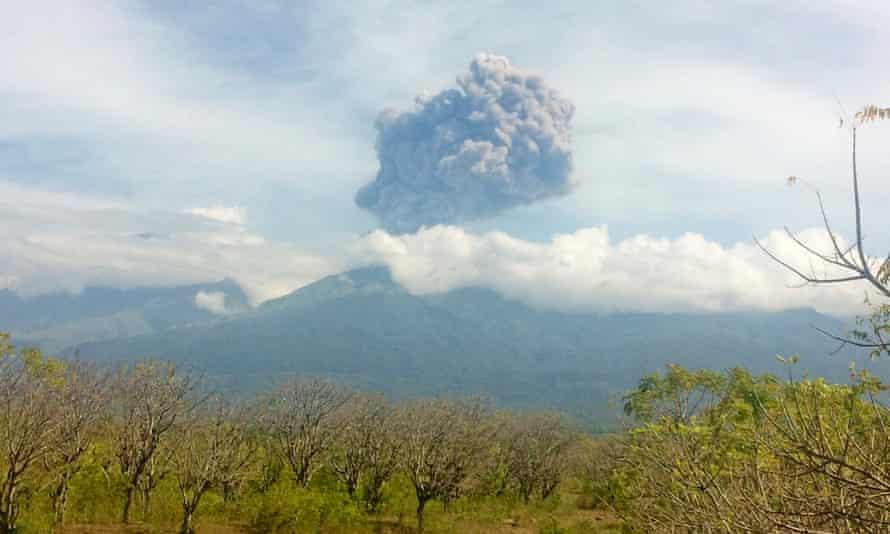 Mount Barujari's eruption seen from North Lombok on Wednesday.