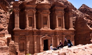 The writer chatting with Steph, Anas and a friend outside the monastery at Petra.