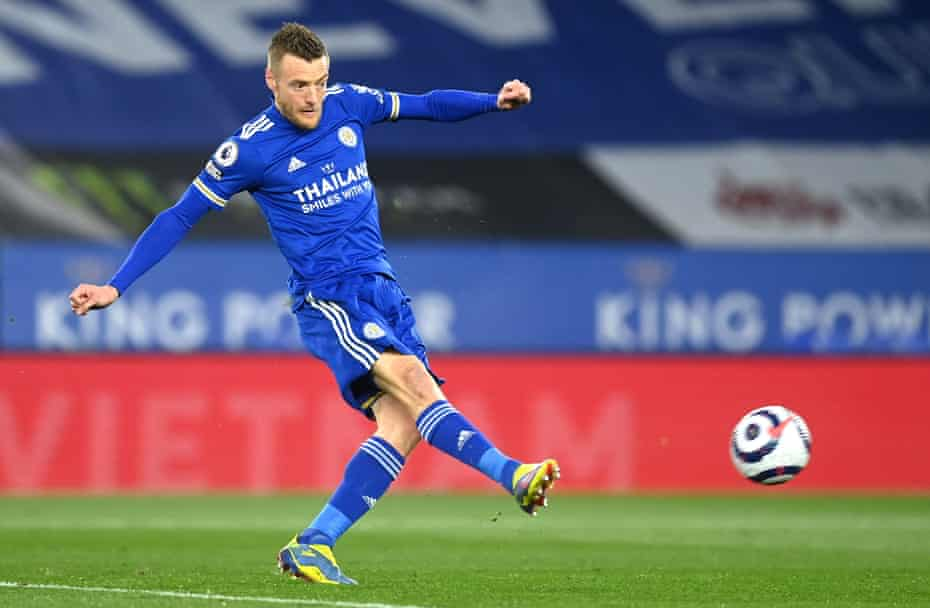 Jamie Vardy opens the scoring for Leicester.
