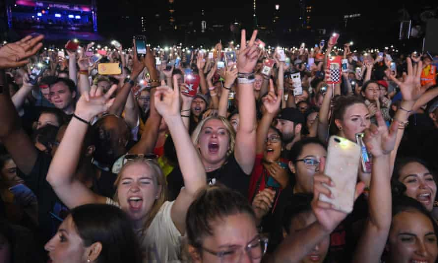 A crowd cheers at the 2019 Global Citizen Festival: Power The Movement in Central Park in Manhattan.