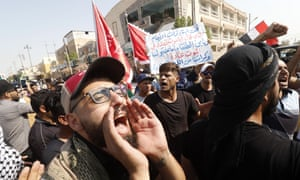 Iraqis shout slogans during continuing protests in Basra this month over power cuts, unemployment, corruption and a lack of clean water.
