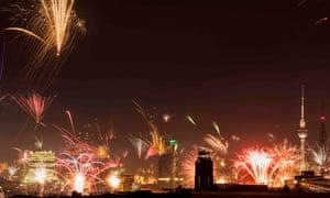 Fireworks over the city skyline in Berlin.