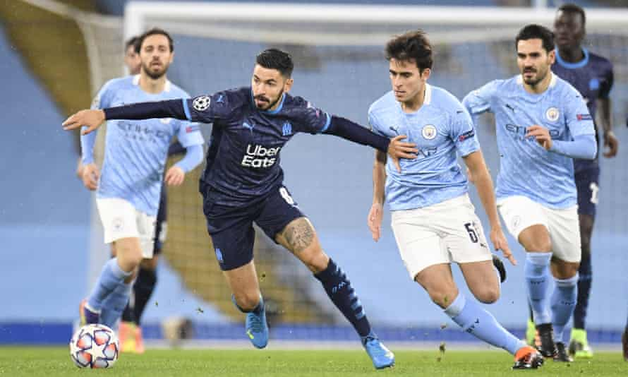Morgan Sanson in action for Marseille against Manchester City in December.