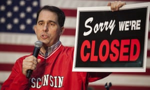 Scott Walker, campaigning in Madison in November, prior to his defeat.