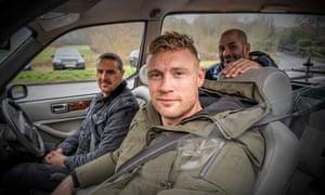 Happy motoring … Paddy McGuinness, Freddie Flintoff and Chris Harris.