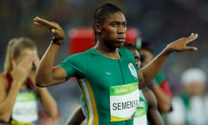 Caster Semenya with a determined look after winning gold for South Africa in the women's 800m final.