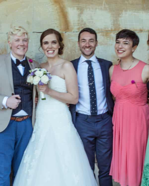 Claire (far left) and Emma (second left) King-Jones with celebrants Angus Harrison and Lily Eastwood.