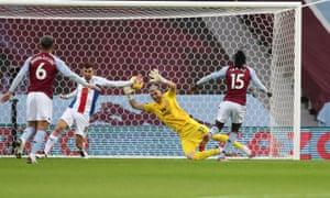 Bertrand Traore of Aston Villa opens the scoring.