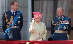 Queen, Duke of Cambridge and Duke of Edinburgh watch Battle of Britain flypast