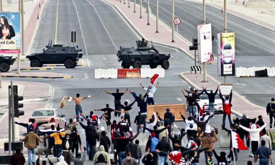 People take part in a pro-democracy protest in Manama, Bahrain, in 2011.