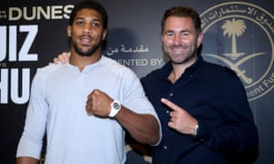 Anthony Joshua (left) and promoter Eddie Hearn at the Centria Mall in Riyadh.