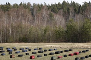 Shchyolkovo, Russia A field of suitcases is arranged at the Central Customs Stadium, the dog training centre of the Federal Customs Service