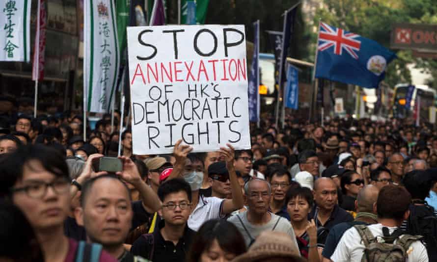 Protesters in Hong Kong in November