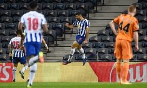Porto's Mehdi Taremi celebrates after opening the scoring.