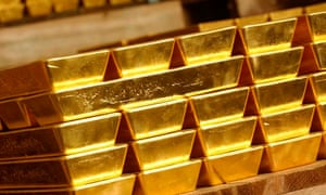 Gold bars stored in a vault