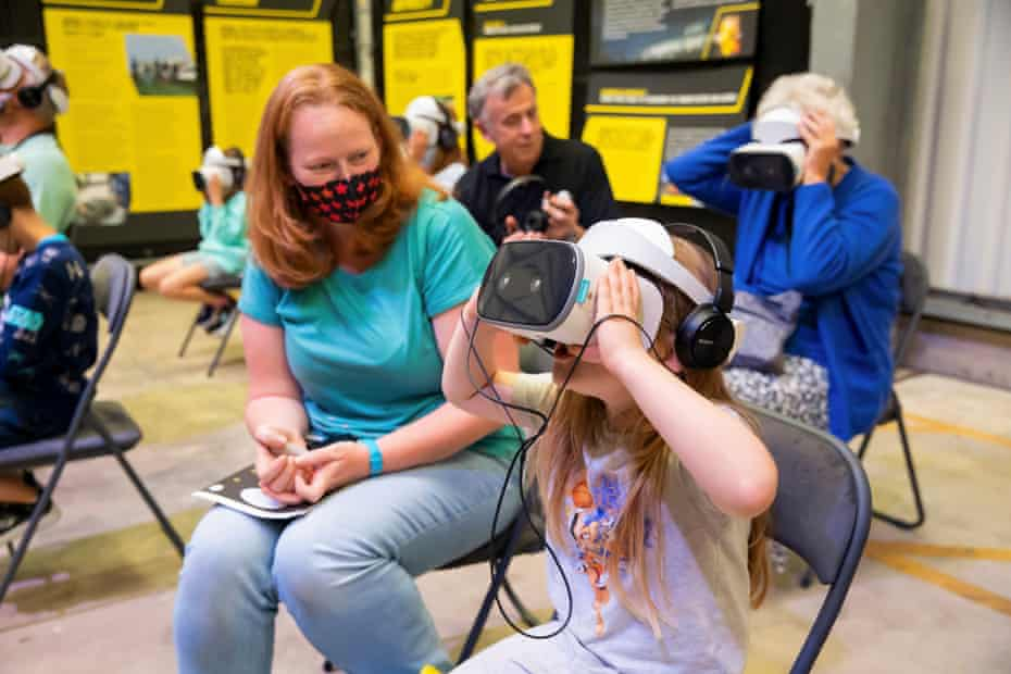 Destiny Whetter, 7, enjoying the VR experience alongside her mum Lucy.