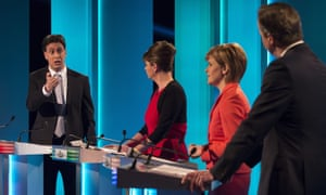 The leaders' debate on ITV before the 2015 general election. Left to right: Ed Miliband, Leanne Wood, Nicola Sturgeon and David Cameron.