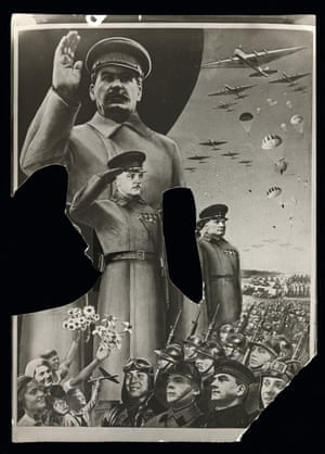 Photograph of a design for Gustav Klutsis's poster Marshals of the Revolution 1935, with cut-outs.