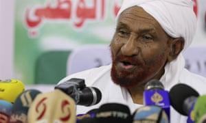 Sadiq al-Mahdi na zdjęciu w lutym.
