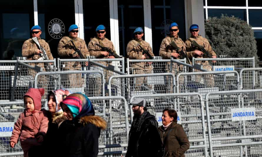 Turkish soldiers outside a courtroom at the Silivri Prison and Courthouse complex