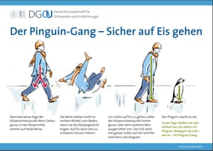 Diagram advising German people how to walk like a penguin during icy weather