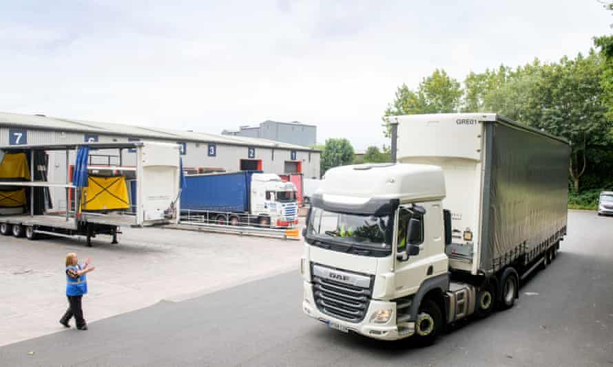 A driver is put through positioning tests at the Wincanton depot near Bristol.