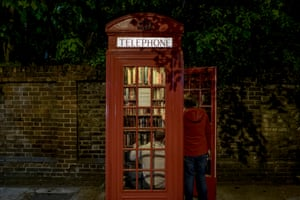 A telephone kiosk in Lewisham that has been turned into a community library