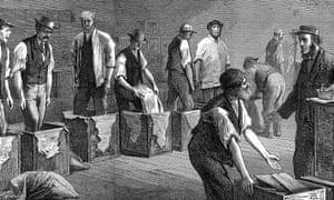 Tea warehouses of the East & West India Dock Company, London.