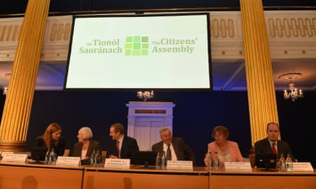 A Citizens' Assembly meeting in 2016, including (from left) its secretary Sharon Finegan, chair Mary Laffoy and the then taoiseach, Enda Kenny.