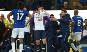 Son Heung-Min (centre) reacts after his involvement in the incident that resulted in the injury to Everton's André Gomes.